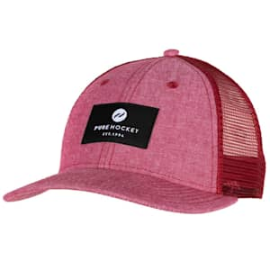 Pure Hockey Chambray Red Mesh Back Hat - Adult
