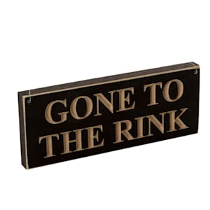 "Painted Pastimes ""GONE TO THE RINK"" Sign - 3.5"" x 9"""