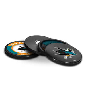 InGlasco Puck Coasters Pack - San Jose Sharks