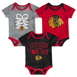 Adidas Chicago Blackhawks Five on Three Baby Onesie 3-Pack - Infant