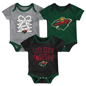 Adidas Minnesota Wild Five on Three Baby Onesie 3-Pack - Infant