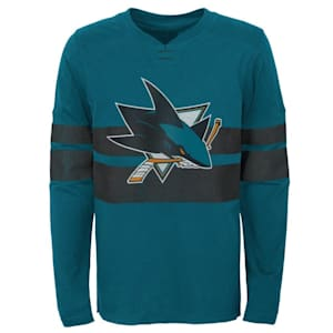 Adidas San JOse Sharks Featured Classic Log Sleeve Tee - Youth