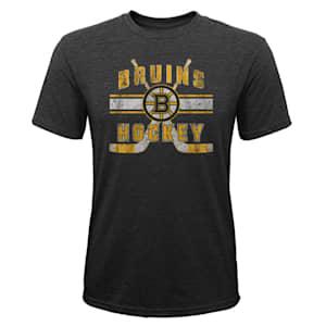 Adidas Super Stripe Short Sleeve Tri Blend Tee Shirt - Boston Bruins - Youth
