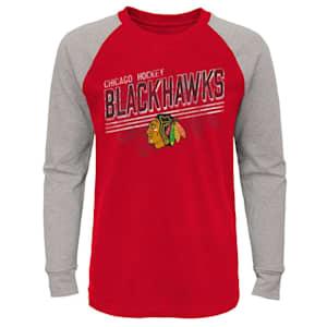 Adidas Over Time Long Sleeve Raglan Tee Shirt - Chicago Blackhawks - Youth