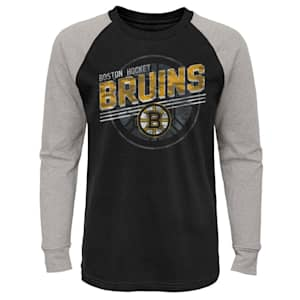Outerstuff Over Time Long Sleeve Raglan Tee Shirt - Boston Bruins - Youth