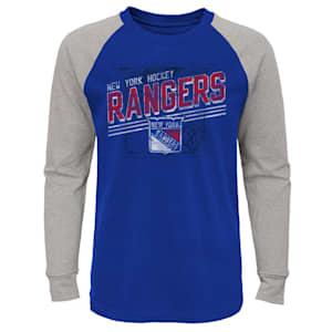Outerstuff Over Time Long Sleeve Raglan Tee Shirt - New York Rangers - Youth