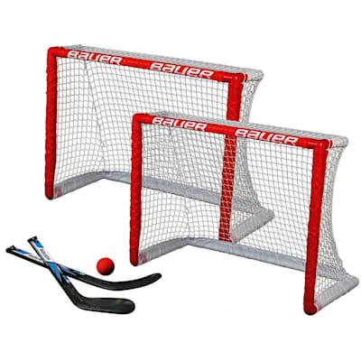 (Bauer Knee Hockey Goal Set w/2 Goals, 2 Sticks & Ball)
