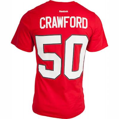 Crawford No. 50 On Back (Reebok Chicago Blackhawks Corey Crawford Tee Shirt - Mens)