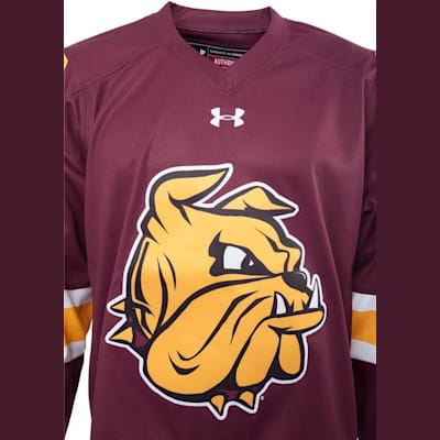 Front Logo (Under Armour Minnesota-Duluth Bulldogs Jersey - Home/Dark - Senior)