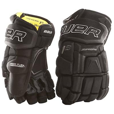 Black (Bauer Supreme 1S Hockey Gloves - 2017 - Junior)