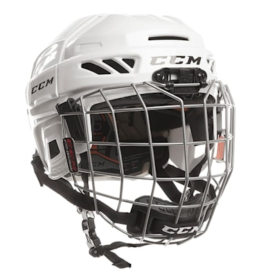 White (CCM Fitlite 3DS Youth Hockey Helmet Combo - Youth)
