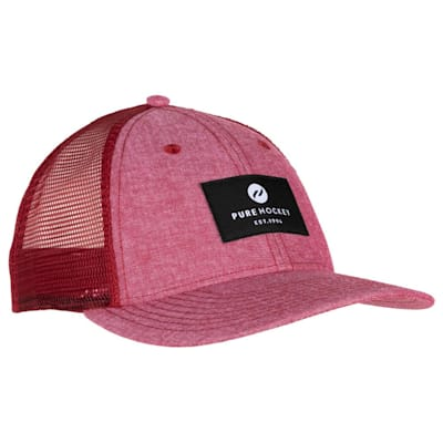 (Pure Hockey Chambray Red Mesh Back Hat - Adult)