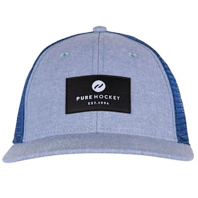 (Pure Hockey Chambray Royal Mesh Back Hat - Adult)