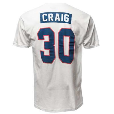 Back (Streaker Sports 1980 Jim Craig Miracle USA Hockey Jersey Tee - Adult)