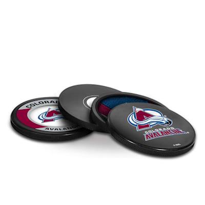 (InGlasco Puck Coasters Pack - Colorado Avalanche)