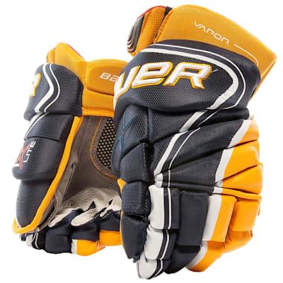 Navy/Gold (Bauer Vapor 1X Lite Hockey Gloves - Junior)