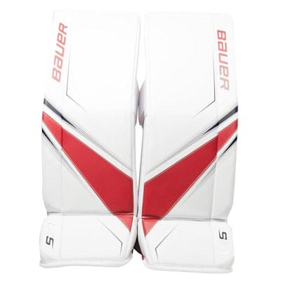 White/Red/Blue (Bauer Supreme S27 Goalie Leg Pads - Senior)