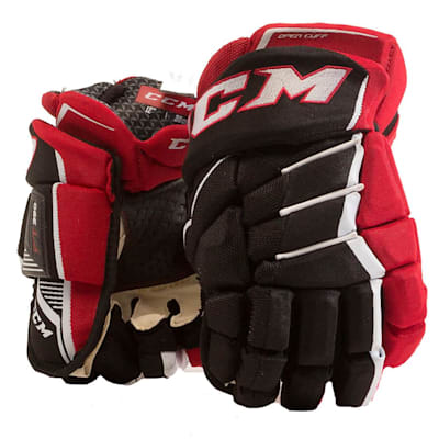 Black/Red/White (CCM JetSpeed FT390 Hockey Gloves - Senior)