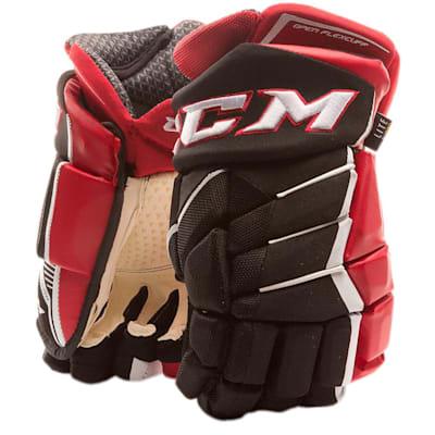 Black/Red/White (CCM JetSpeed FT1 Hockey Gloves - Junior)