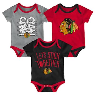 (Adidas Chicago Blackhawks Five on Three Baby Onesie 3-Pack - Infant)