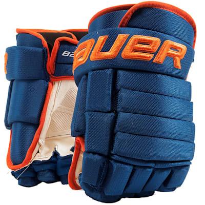 Blue/Orange (Bauer 4-Roll Team Pro Hockey Gloves - Junior)