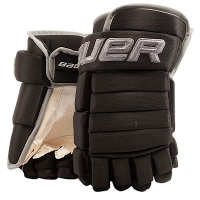 Black/Silver (Bauer 4-Roll Team Pro Hockey Gloves - Junior)