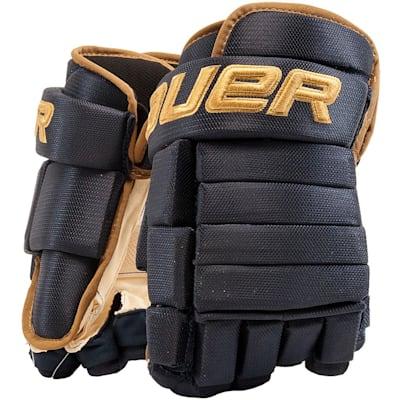 Navy/Vegas Gold (Bauer 4-Roll Team Pro Hockey Gloves - Junior)