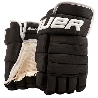 Black/White (Bauer 4-Roll Team Pro Hockey Gloves - Senior)