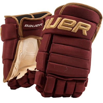 Maroon/Gold (Bauer 4-Roll Team Pro Hockey Gloves - Senior)