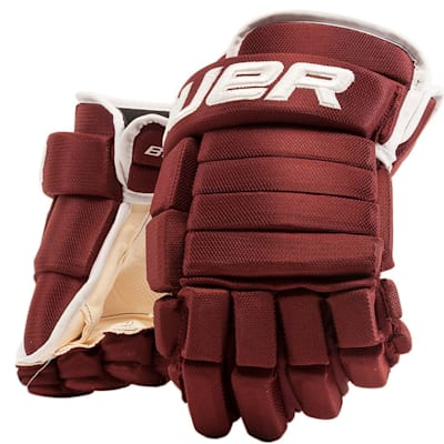 Maroon/White (Bauer 4-Roll Team Pro Hockey Gloves - Senior)