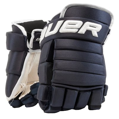 Navy/White (Bauer 4-Roll Team Pro Hockey Gloves - Senior)