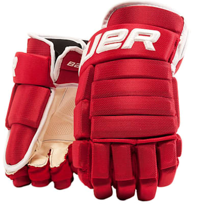 Red/White (Bauer 4-Roll Team Pro Hockey Gloves - Senior)