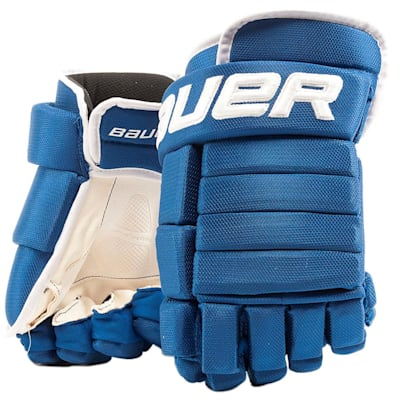 Royal/White (Bauer 4-Roll Team Pro Hockey Gloves - Senior)
