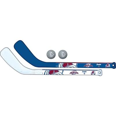 (Franklin NHL Mini Hockey Stick Set - Colorado Avalanche)