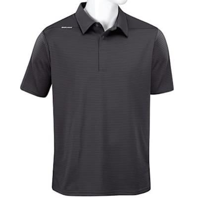 Grey (Bauer Short Sleeve Striped Sport Polo - Grey - Adult)