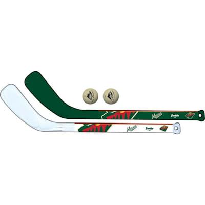 (Franklin NHL Mini Hockey Stick Set - Minnesota Wild)