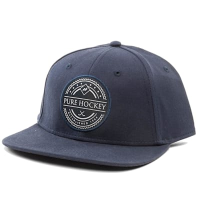 Front (Pure Hockey Navy Flat Brim Snapback Hat - Adult)