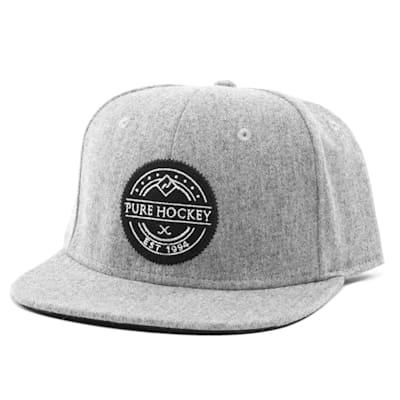 Front (Pure Hockey Heritage Grey Flat Brim Snapback Hat - Adult)