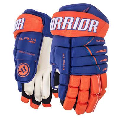 Light Royal/Orange (Warrior Alpha Pro Hockey Gloves - Junior)