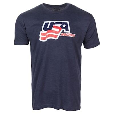 Navy Front (USA Hockey Short Sleeve Tee Shirt - Adult)