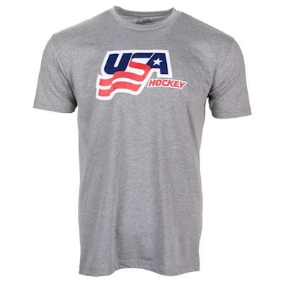 Grey Front (USA Hockey Short Sleeve Tee Shirt - Adult)