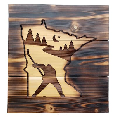 "(9.5"" x 10.5"" Minnesota Slapshot - Cedar Sign)"