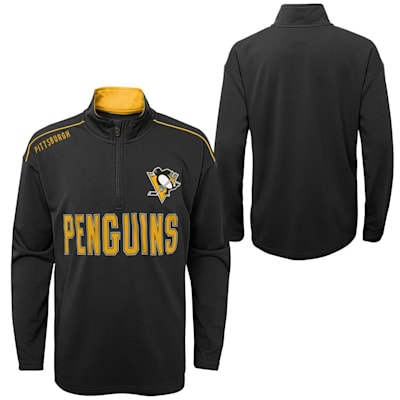 (Outerstuff Attacking Zone 1/4 Zip Performance Top - Pittsburgh Penguins - Youth)