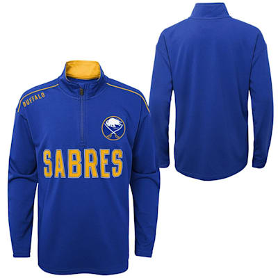 (Outerstuff Attacking Zone 1/4 Zip Performance Top - Buffalo Sabres - Youth)