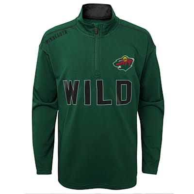 (Outerstuff Attacking Zone 1/4 Zip Performance Top - Minnesota Wild - Youth)