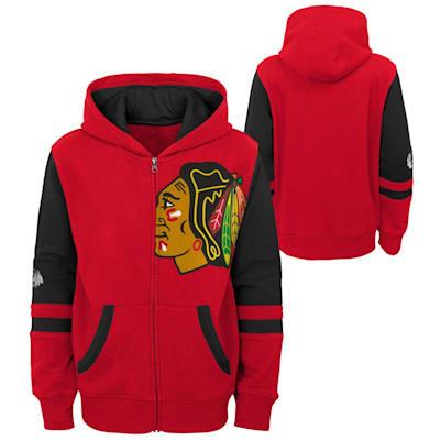 (Outerstuff Faceoff FZ Fleece Hoodie - Chicago Blackhawks - Youth)