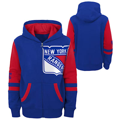 (Outerstuff Faceoff FZ Fleece Hoodie - New York Rangers - Youth)