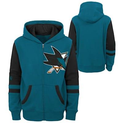 (Adidas Faceoff FZ Fleece Hoodie - San Jose Sharks - Youth)