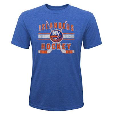 (Outerstuff Super Stripe Short Sleeve Tri Blend Tee Shirt – New York Islanders - Youth)
