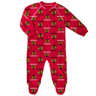 (Outerstuff Raglan Zip Up Coverall - Chicago Blackhawks - Infant)